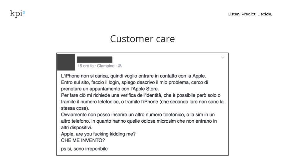 customer care: immagine che mostra un post di un utente di apple che non riesce a risolvere un problema con il suo dispositivo